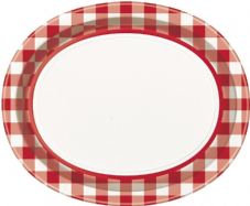 8 Red Gingham Checked Oval Paper Party Serving Plates